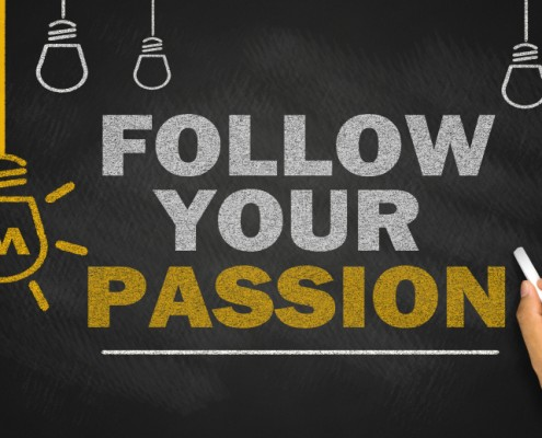 follow your passion on blackboard background
